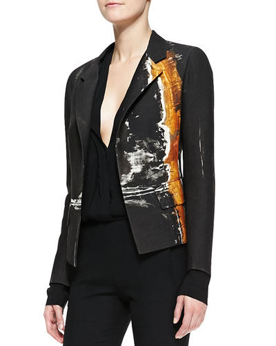 Metallic Printed Boyfriend Jacket