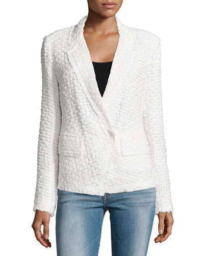 Long-Sleeve Tweed Jacket, Ivory