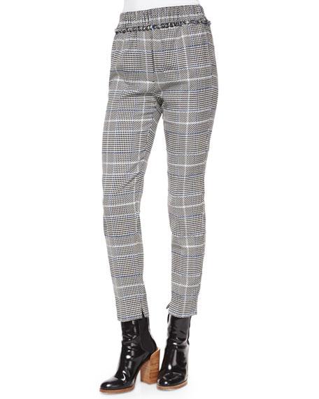 3.1 Phillip Lim Herringbone-Print Fringe Pants, Black/White