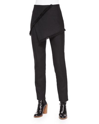 Fringe Wrap-Skirted Pants, Black