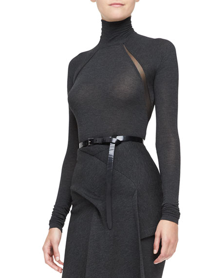 Donna Karan Long-Sleeve Turtleneck Bodysuit, Charcoal