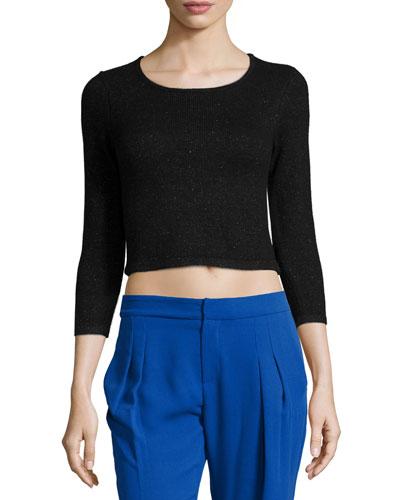 Faro 3/4-Sleeve Crop Top, Black