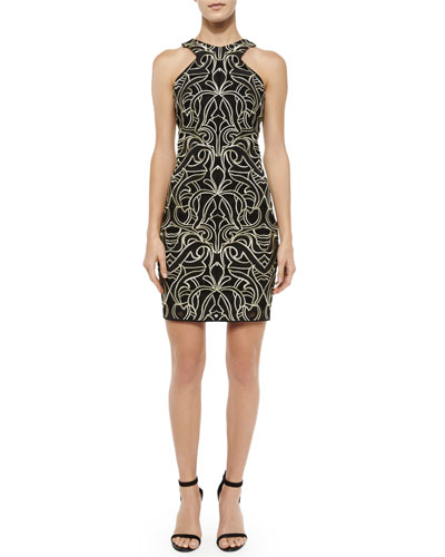 Mariah Fleur de Lis Racerback Dress, Black