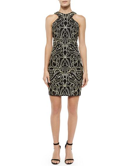 Parker Mariah Fleur de Lis Racerback Dress, Black