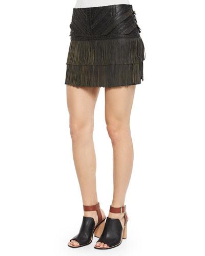 Killington Leather Fringe Skirt, Black