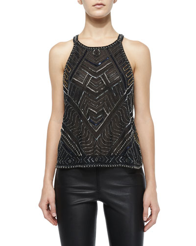 Beaded Pittsburgh Chiffon Blouse, Black