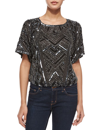 Post Short-Sleeve Beaded Top, Black