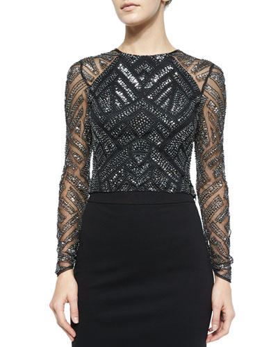 Varden Mesh-Sleeve Beaded Top, Black/Silver