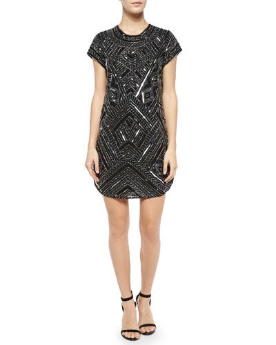 Topaz Beaded Sheath Dress, Black