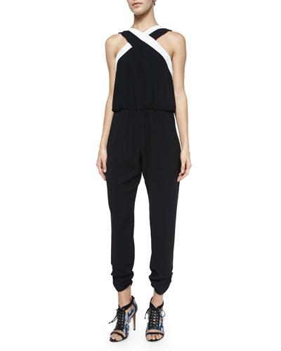 Sleeveless Tati Crepe Jumpsuit, Black