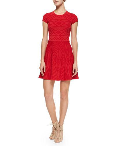 Meena Geometric-Knit A-Line Dress, Carmine