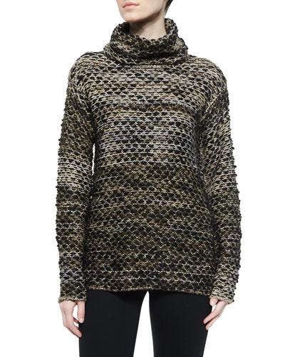 Mona Textured Turtleneck Sweater, Cedar