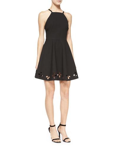 Enary Laser-Cut A-Line Dress, Black