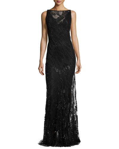Sleeveless Embellished Evening Gown, Black