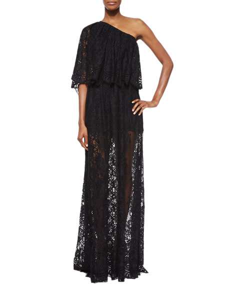 Alexis Sheer Lace One-Shoulder Maxi Dress