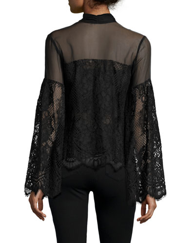 Salvatore Tie-Front Lace Top, Black