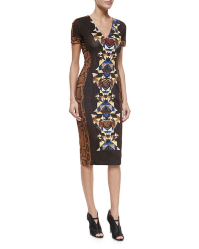 Short-Sleeve Printed Slim Dress