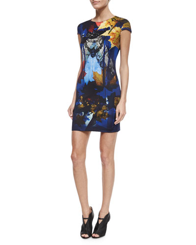 Cap-Sleeve Printed Mini Sheath Dress