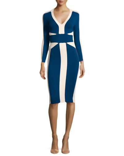 3/4-Sleeve Colorblock Slim Dress