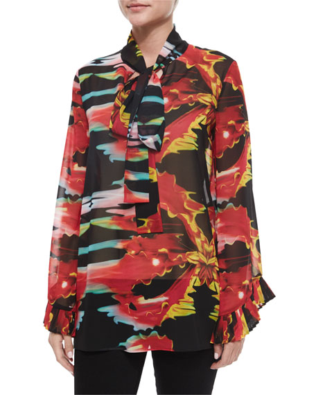 Just Cavalli Neck-Tie Printed Blouse