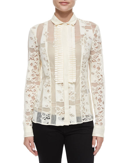 Just CavalliSheer Lace Button-Down Blouse, Medium White