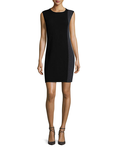 Magaschoni Cashmere Sleeveless Colorblock Dress