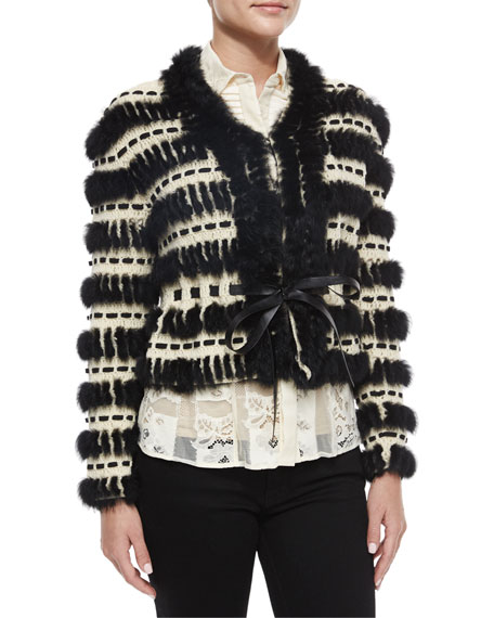 Just Cavalli Crochet & Fur Cropped Jacket
