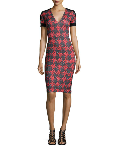 Just Cavalli V-Neck Houndstooth Sheath Dress