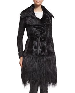 Long Belted Goat Fur Jacket, Black