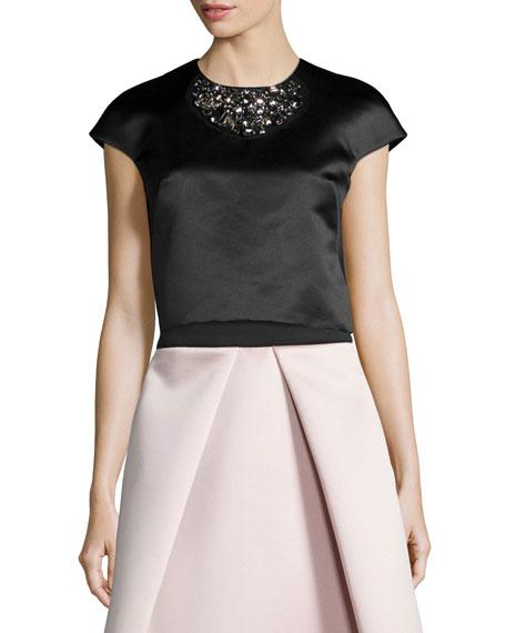 Milly Short-Sleeve Beaded Crop Top, Black