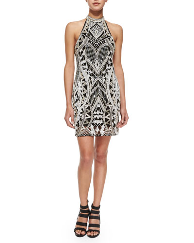 Pascilina Geometric-Beaded Sheath Dress, Ivory/Black