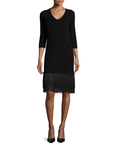 Neiman Marcus Cashmere Collection Cashmere 3/4-Sleeve Dress W/ Fringe Hem