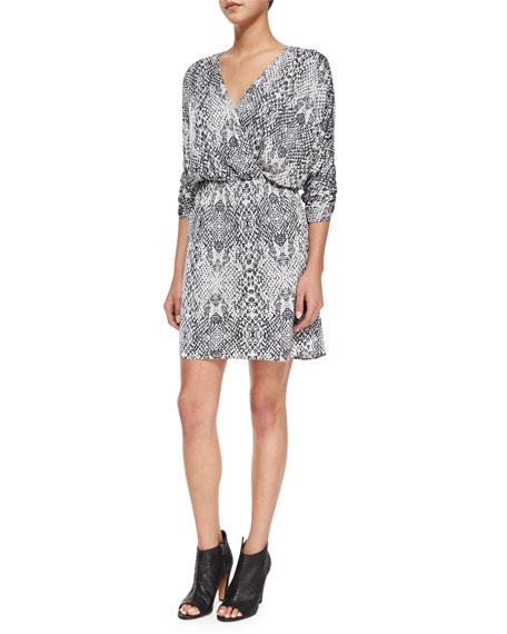 Parker Catalina Snake-Print Chiffon Dress, Draco