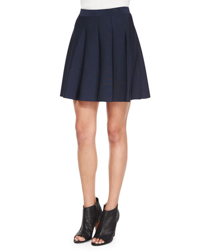 Zoey Pleated A-Line Skirt, Navy