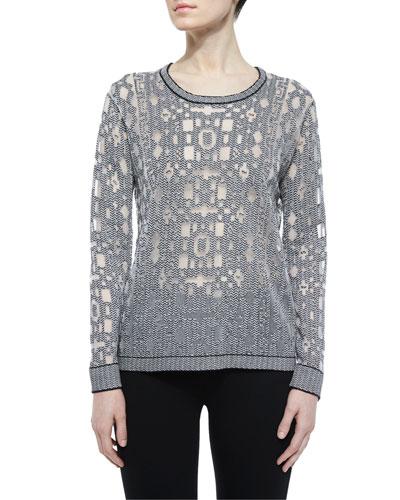 Robinette Geometric Pullover Sweater, Black/White
