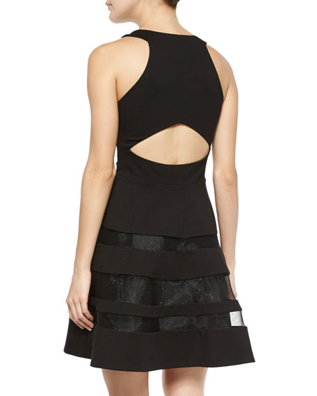 Conner Mesh-Trim Cutout Dress, Black
