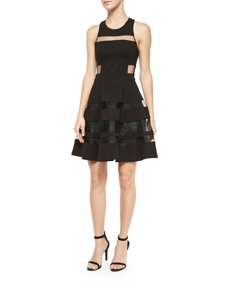 Parker Conner Mesh-Trim Cutout Dress, Black