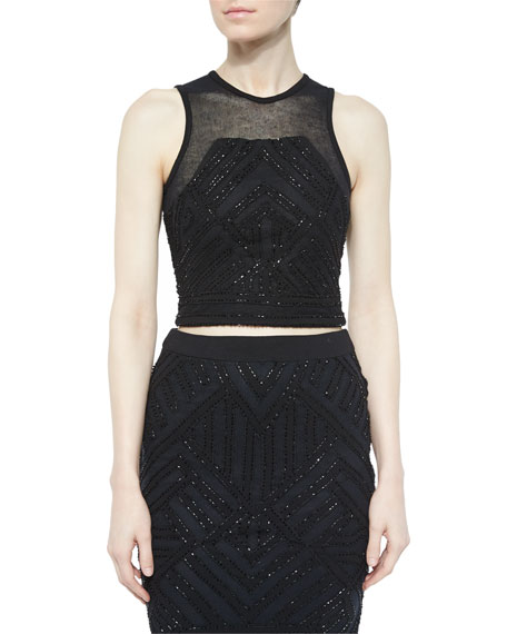 Keene Beaded Cropped Tank, Black