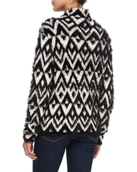 Raissa Chevron Turtleneck Sweater, Black/Ivory