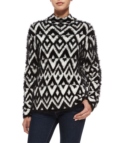 Raissa Chevron Turtleneck Sweater, Black/Ivory