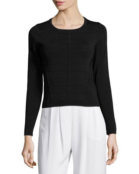 Vick Long-Sleeve Banded Sweater, Black
