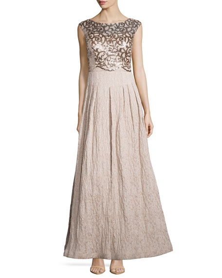 Kay Unger New York Cap-Sleeve Sequined Lace Gown