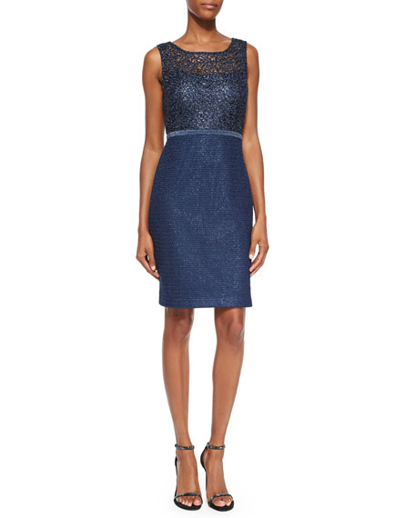 Kay Unger New York Sleeveless Metallic Lace Sheath