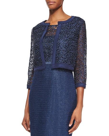 Kay Unger New York 3/4-Sleeve Lace Cropped Jacket