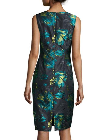 Floral Brocade Sheath Dress, Black/Peacock