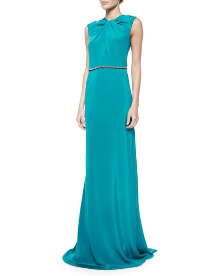 Carmen Marc Valvo Sleeveless Embellished-Waist Gown, Peacock
