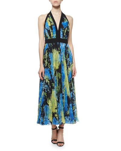 Floral-Print Halter Gown, Pistachio