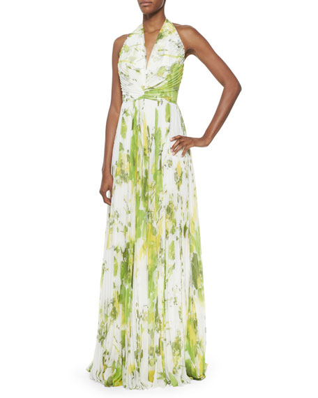 Carmen Marc Valvo Sleeveless Accordion-Pleated Halter Gown, Lime