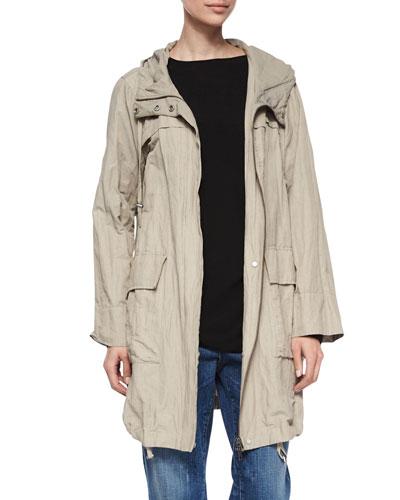 Textured Hooded Metallic Anorak Jacket, Petite
