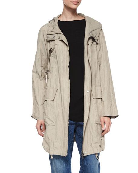 Textured Hooded Metallic Anorak Jacket, Plus Size